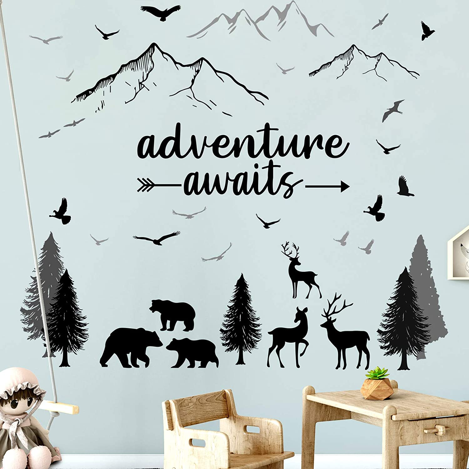 Pajean Woodland Nursery Wall Stickers Tree Wall Decals Vinyl Wall Quotes Stickers Jungle Wild Mountain Forest Animal Deer Bear DIY Stickers for Kids Room Decor Boy Living Room Bedroom, 9.8 x 13.8 Inch