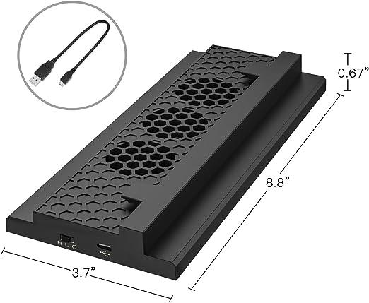 MoKo Xbox One S Ventilador - Incorporado 3 Speed Cooling Fans con 2 USB Puertos de Carga & Sincronización de Datos/L & H Velocidad Soporte Vertical para Xbox One S Gaming Consola,