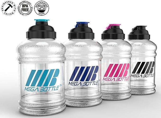 Mega Bottle - Botella grande de medio galón, 2,5 litros sin BPA – Plástico Tritan patentdo de calidad alimentaria – Sello a prueba de fugas – Asa para fácil ...