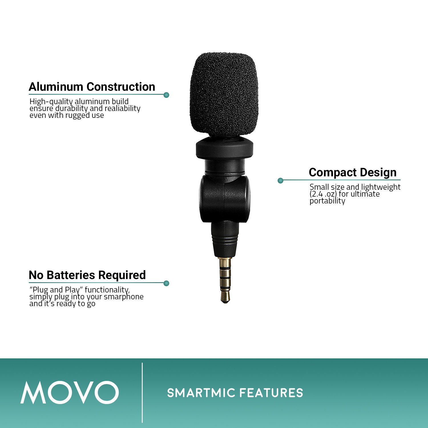 Saramonic SmartMic Microphone with Lightning Dongle Clip for iPhone 7, iPhone 7 Plus, iPhone 8, iPhone X, and other iOS Devices (Black) by Movo (Image #2)