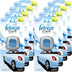 Febreze 2 amL (0.06 FL OZ) Car Vent Clips Air Freshener and Odor Eliminator, Linen and Sky Scent - 8 Pieces