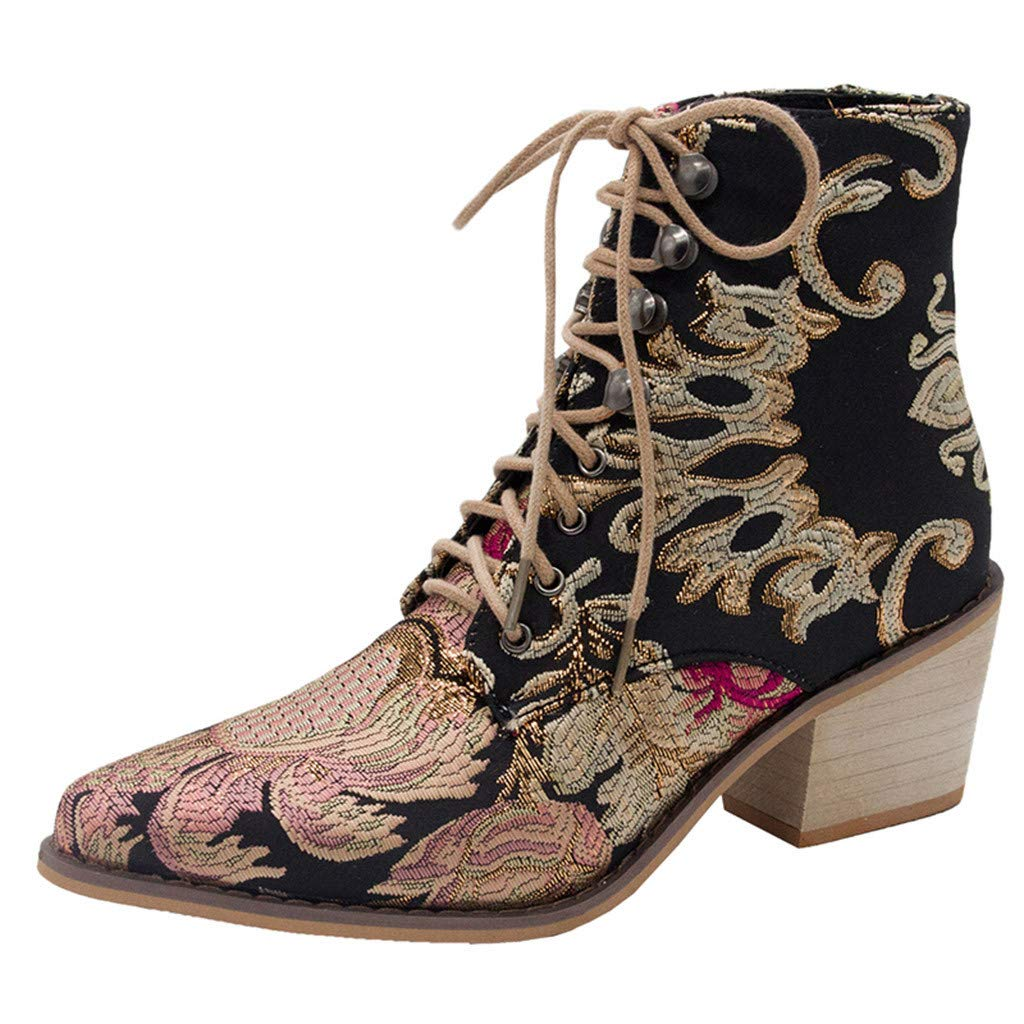TnaIolral Women Suede Boots Square Heel Embroidery Boots Lace-Up Pointed Toe Shoes (US:9, Black)