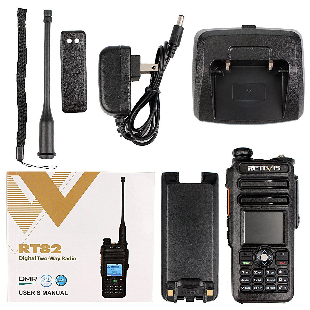 Retevis RT82 IP67 Waterproof Dual Band DMR Digital/Analog Two Way Radio 5W 136-174MHZ/400-480MHZ 3000 Channels 10000 Contacts Ham Amateur Radio with Record Function and Programming Cable by Retevis (Image #9)