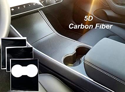 Tesla Model 3 Center Console Wrap,MagicalMai Interior Decoration Cover Sticker Protector with Professional Squeegee for Tesla Model 3 Vinyl Wrap Kit 5D Carbon Fiber Black Upgrade Magical Mai