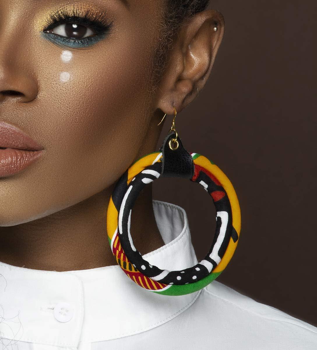Ghana Kente Print African Wooden Earrings Yellow Blue Red