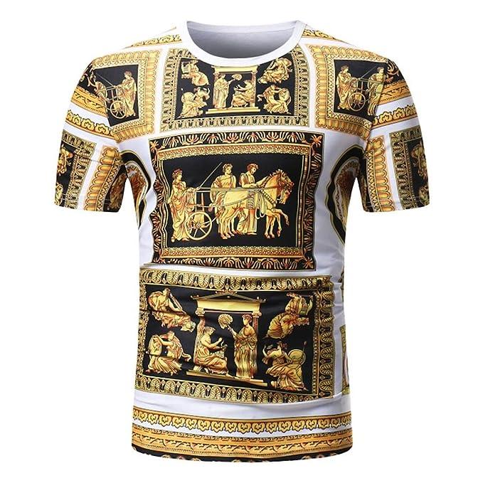 Camiseta para Hombre, Camiseta Casual de Manga Corta con Cuello en Pico y Estampado Africano