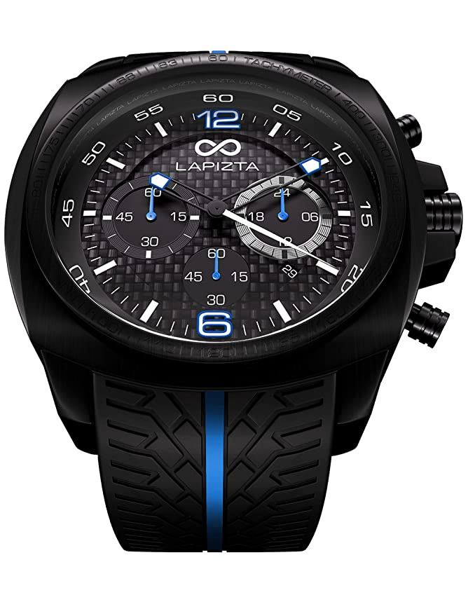 Amazon.com: LAPIZTA Addax Mens 48mm Chronograph Racing Watch - Carbon Fiber Dial w/Grey Accents L20.1005: Watches