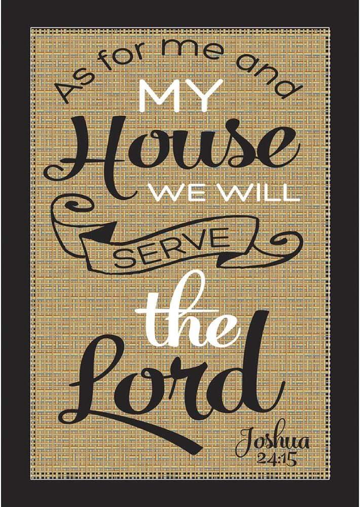We Will Serve the Lord Joshua 24:15 Burlap on Black 18 x 13 Rectangular Small Garden Flag