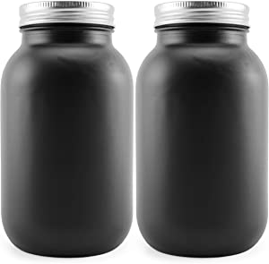 Darware Black Chalkboard Mason Jars (Quart Size, 2-Pack); Decorative Black-Coated Blackboard Surface Glass Jars for Arts and Crafts, Gifts, and Rustic Home Decor