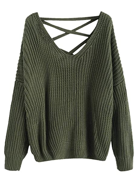 dfd4fcbb9e4 Women Long Sleeve Lace Up Drop Shoulder Chunky V Neck Jumper Sweater ...
