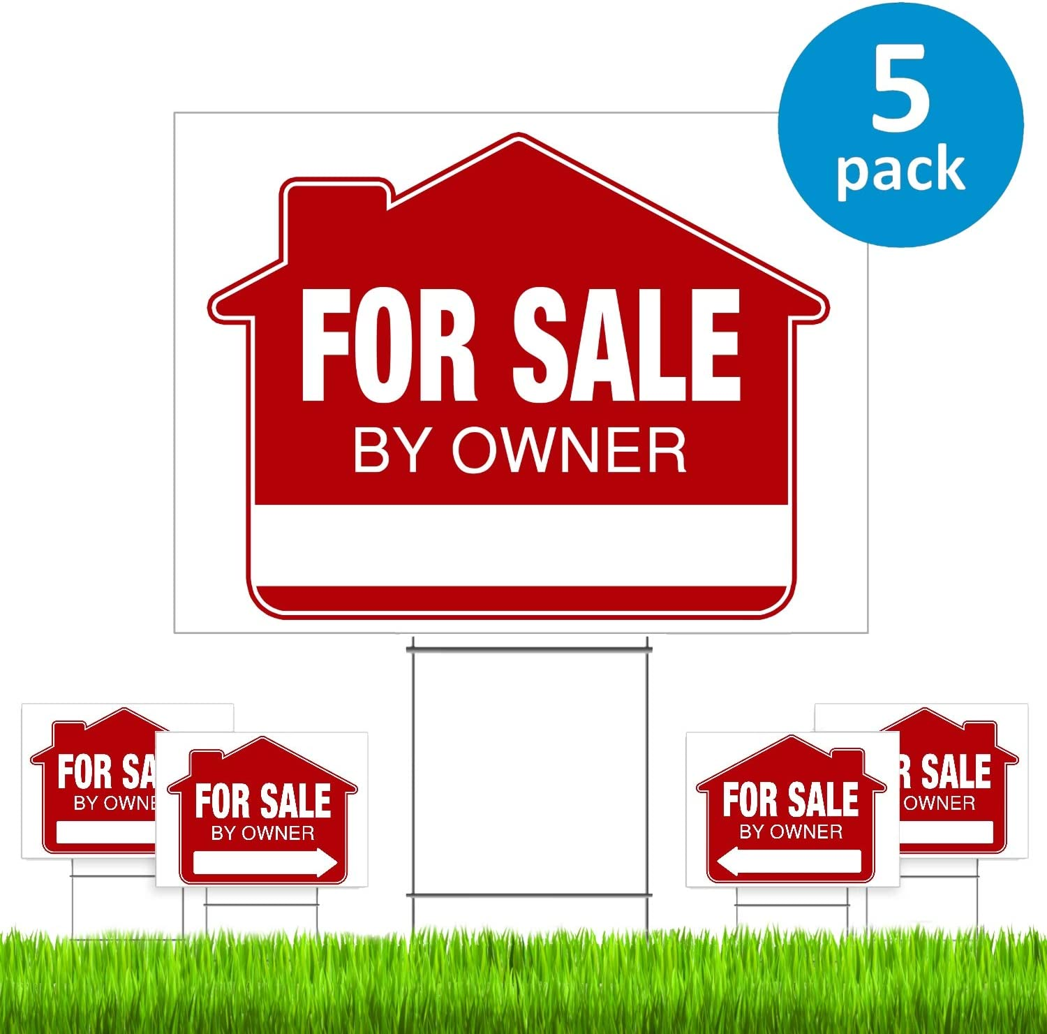 "For Sale By Owner Yard Sign (5 Pack) – PRO Home For Sale Sign Kit With 5 Double-Sided Real Estate Signs & 5 Heavy Duty Yard Stakes (Large 18"" x 24"" Size) – NEW!"