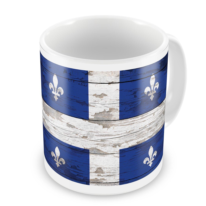 Coffee Mug Flag on Wood Quebec region: Canada - NEONBLOND