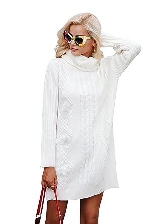 135c9d92263a Simplee Women s Winter Warm Oversized Turtleneck Long Pullover Sweater  Dress Cream One Size