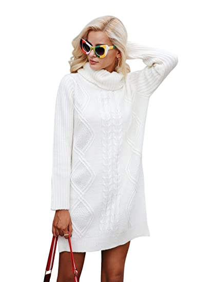 Simplee Womens Winter Warm Oversized Turtleneck Long Pullover