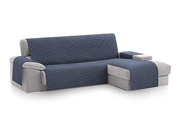 textil-home Funda Cubre Sofá Chaise Longue Malu, Protector para Sofás Acolchado Brazo Derecho. Tamaño -240cm. Color Azul (Visto DE Frente)