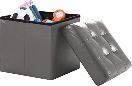 Home Sweet Home Ottoman Faux Leather Bench Folding Box Storage Small Size 15'' x 15'' x 15''