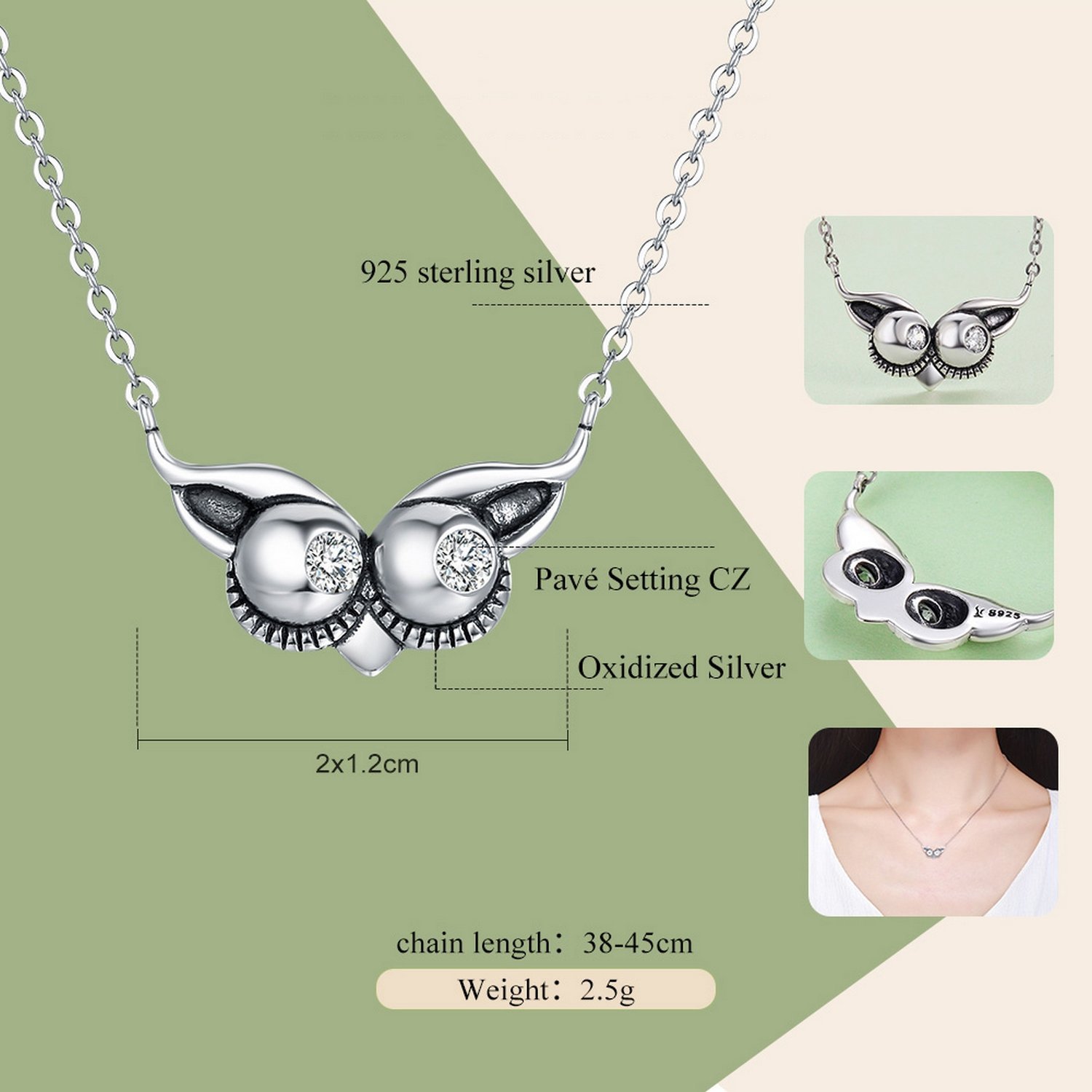 CS-DB Jewelry Silver Owl Face Chain Charm Pendants Necklaces