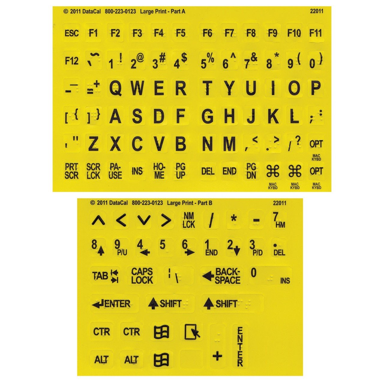 Large Print-Braille Keyboard Labels- Blk on Yellow