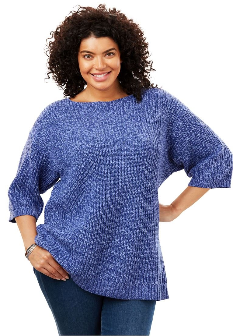 Woman Within Women's Plus Size Square Neck Pullover Sweater