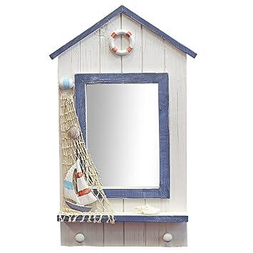 Just Contempo Espejo con diseño de caseta de playa (madera, incluye 2 ganchos,