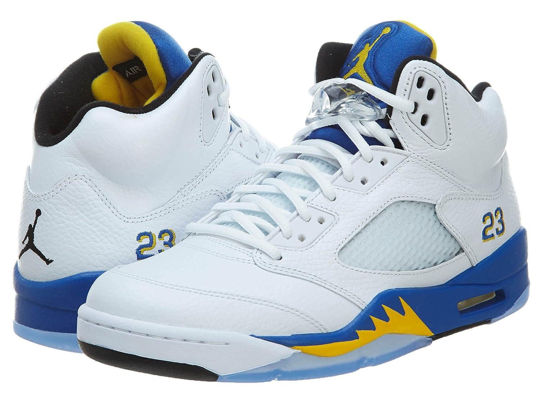 White Maize bluee Nike Men's Air Jordan 5 Retro Basketball shoes