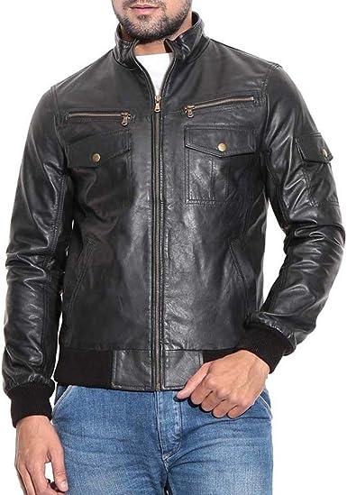 World of Leather Mens Lambskin Leather Jacket Moto Biker Bomber