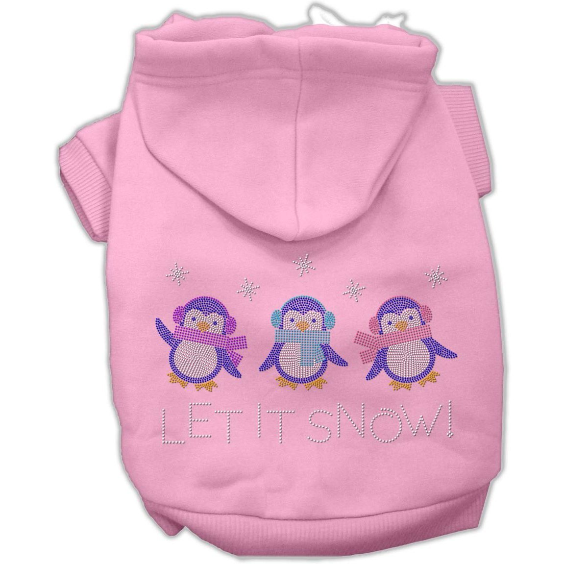Mirage Pet Products 8-Inch Let it Snow Penguins Rhinestone Hoodie, X-Small, Pink