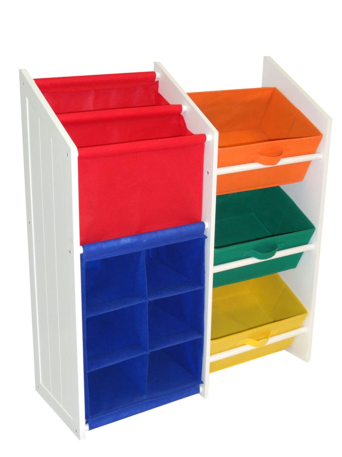 Amazon.com: RiverRidge Kids Super Storage With 3 Bins, Book Holder And 6  Cubby Slots, Two Color Options Available: Kitchen U0026 Dining