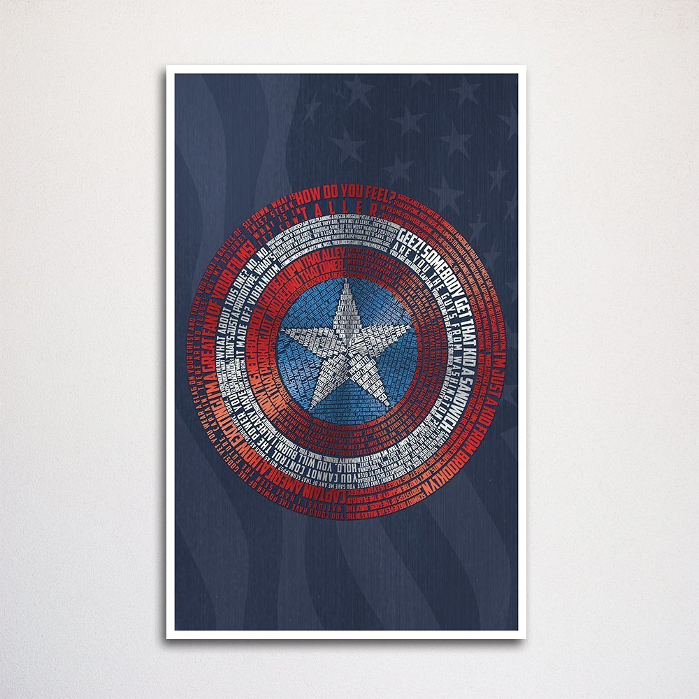 Captain America Shield word art print -11x17'' | wall home decor | typography art | comic book art | geeky gift by The Art of Scott W Smith (Image #1)