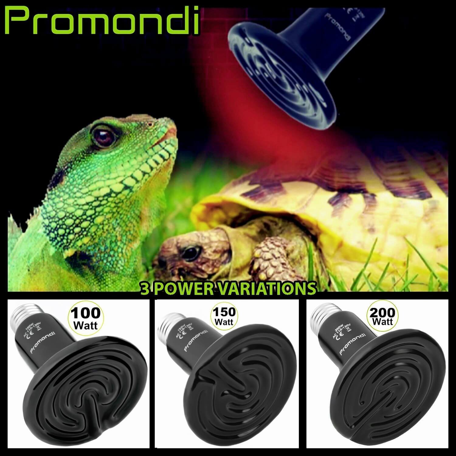 Ceramic Infrared Heat Emitter Lamp 200W | Reptile Brooder Chicken Coop Outdoor Pet Heater Bulb | 20,000+ Hours Power Lamps by Promondi by Promondi (Image #5)