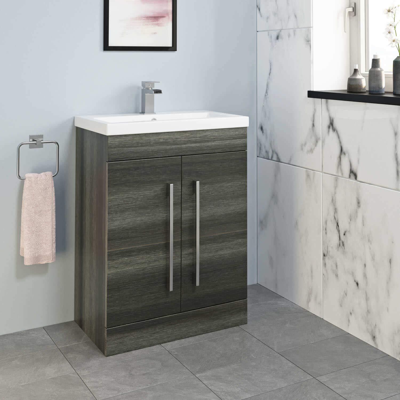 800mm Bathroom Vanity Unit Basin Drawer Storage Cabinet Furniture Charcoal Grey