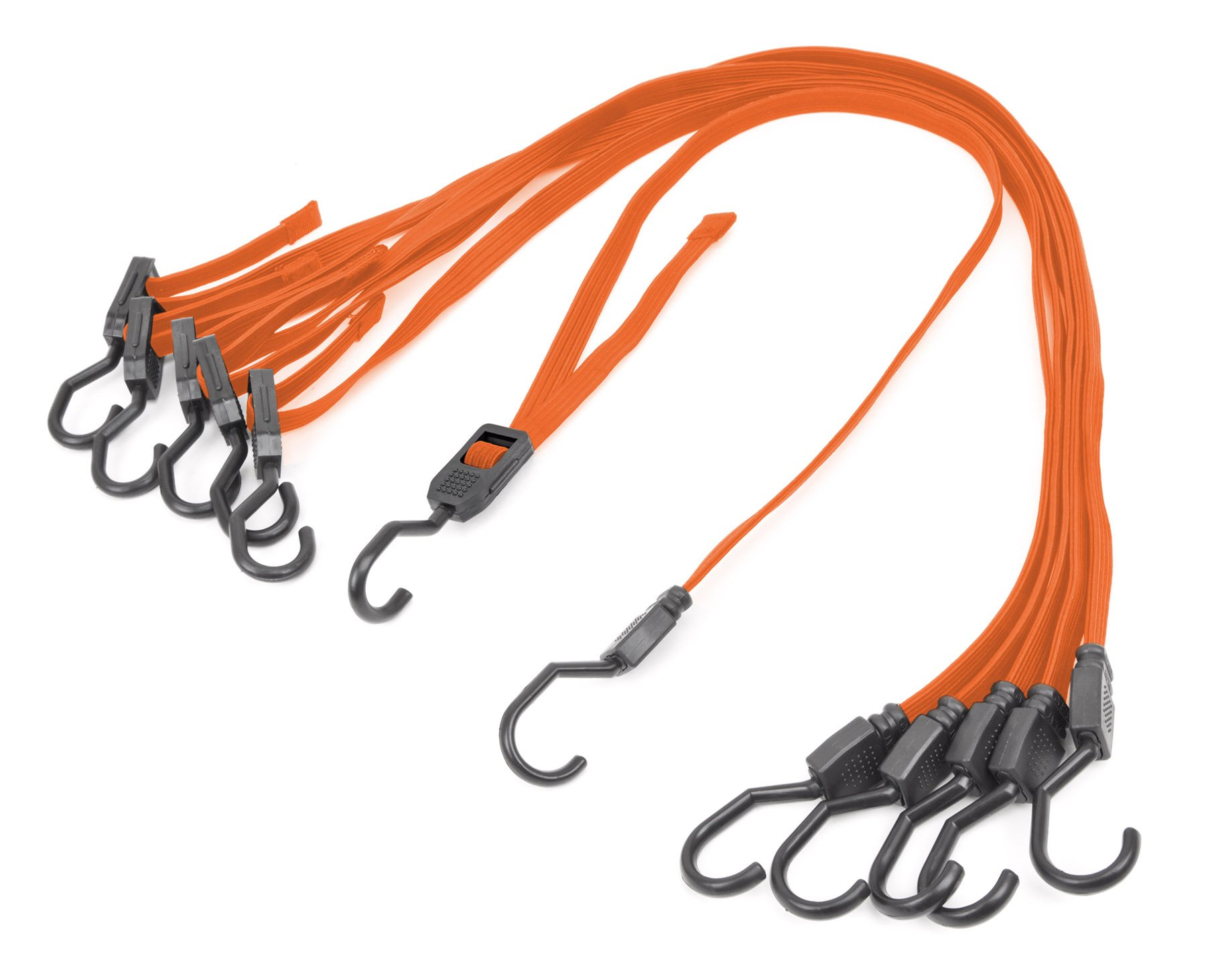 Powertye Mfg Changeable-Length Flat Bungee Cords made with Premium Latex Rubber (adjusts from 12'' to 45''), Metal Hooks with Hard Plastic Coating (6-Pack)