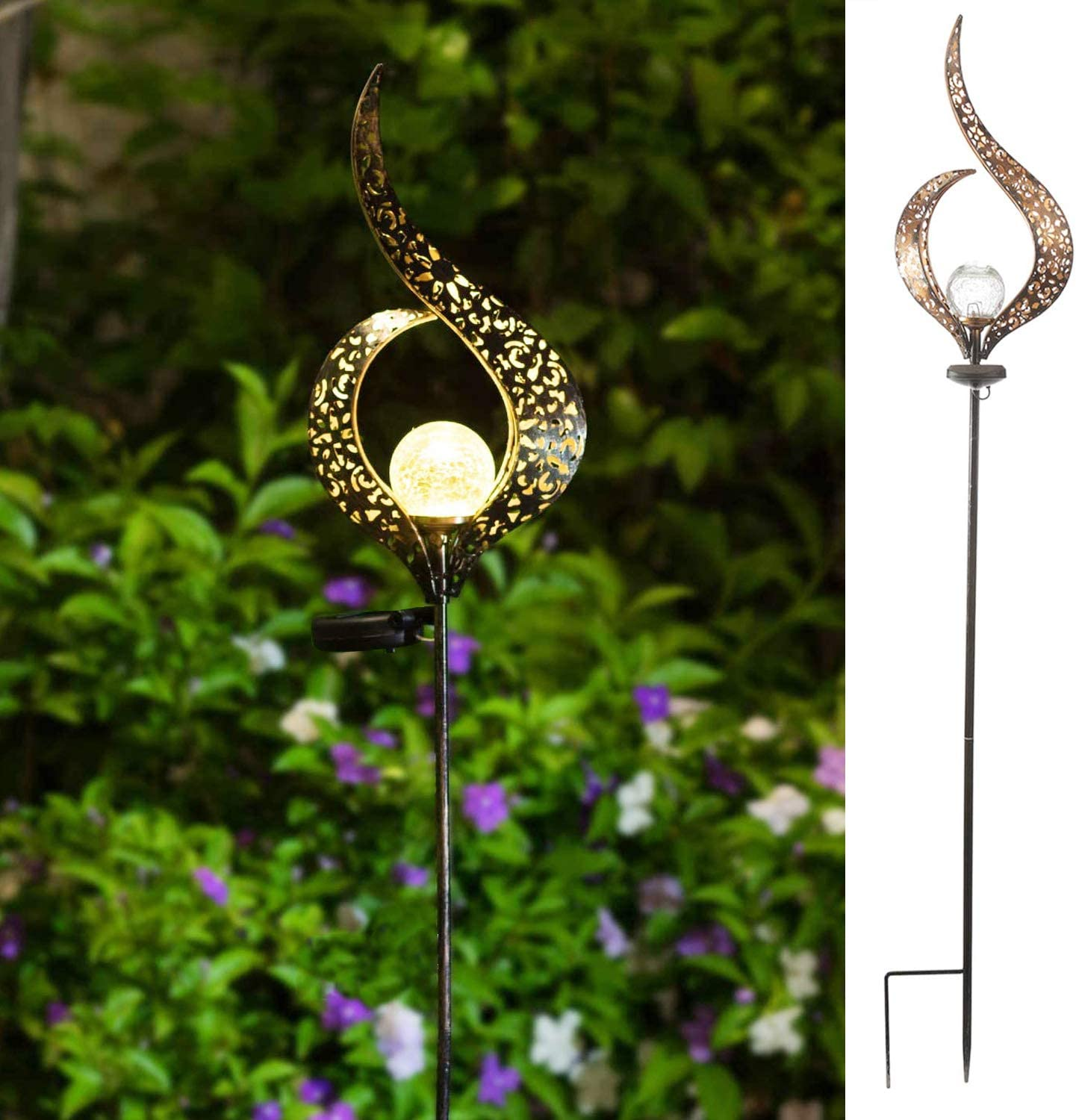 """MH 40""""H Solar Flame Garden Lights Crackle Glass Globe Flame Metal Yard Stake Lights,Waterproof Warm White F3 LED for Lawn, Pathway, Patio or Courtyard"""