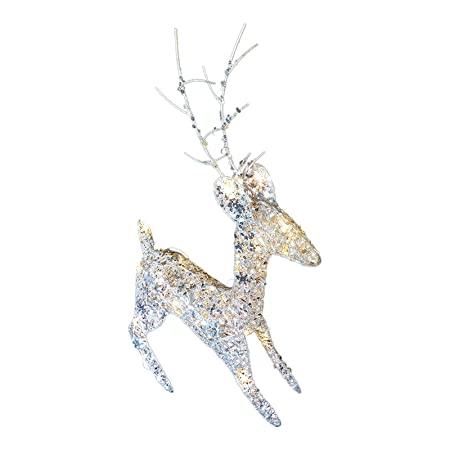 uk gardens sale light up 60cm 2ft pre lit glitter silver christmas reindeer figure