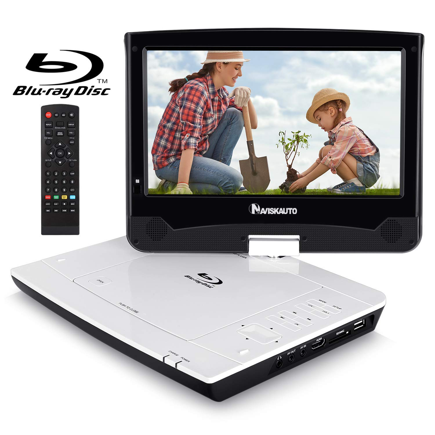 10.1'' Portable Blu Ray DVD Player with Rechargeable Battery Support HDMI Output, 1080P Video, Sync Screen, AV Out & in, Last Memory, Dolby Audio, USB SD - NAVISKAUTO
