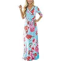 Mujer Vestidos Largos De Verano Casual Vintage Bohemio Florales Estampados Hippies Elegantes 3/4 Manga V Cuello Ajustados Vestidos Largos Vestidos Playa Vestidos Camiseros