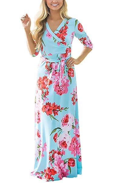 Mujer Vestidos Largos De Verano Casual Vintage Bohemio Florales Estampados Hippies Elegantes 3/4 Manga V Cuello Ajustados Vestidos Largos Vestidos Playa ...