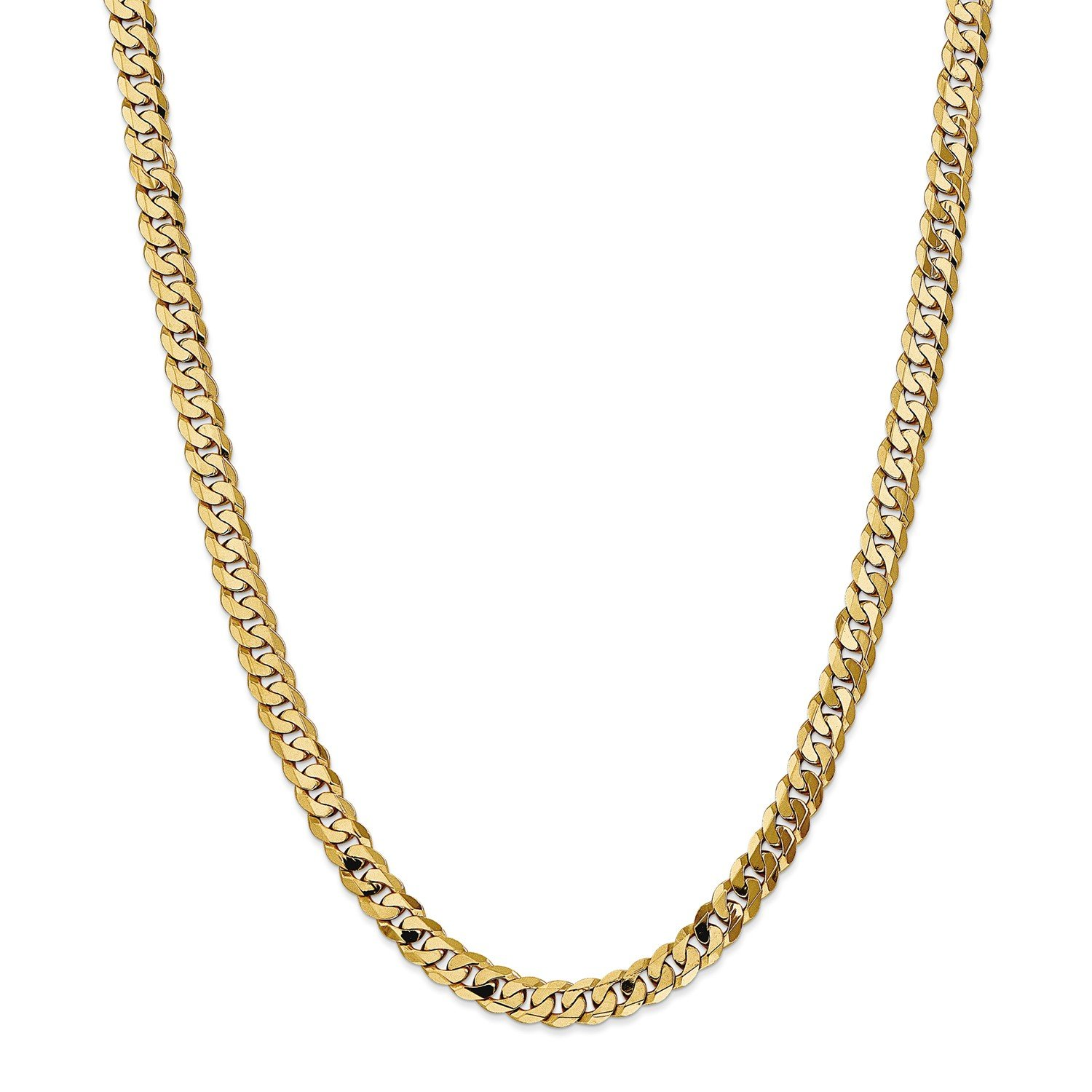Roy Rose Jewelry 14K Yellow Gold 7.25mm Beveled Curb Chain Necklace ~ Length 20'' inches