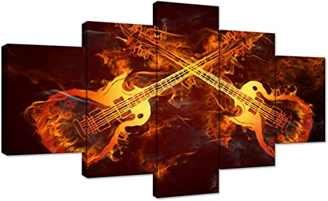 Guitar on fire Canvas Printing Wall Art Home Decor