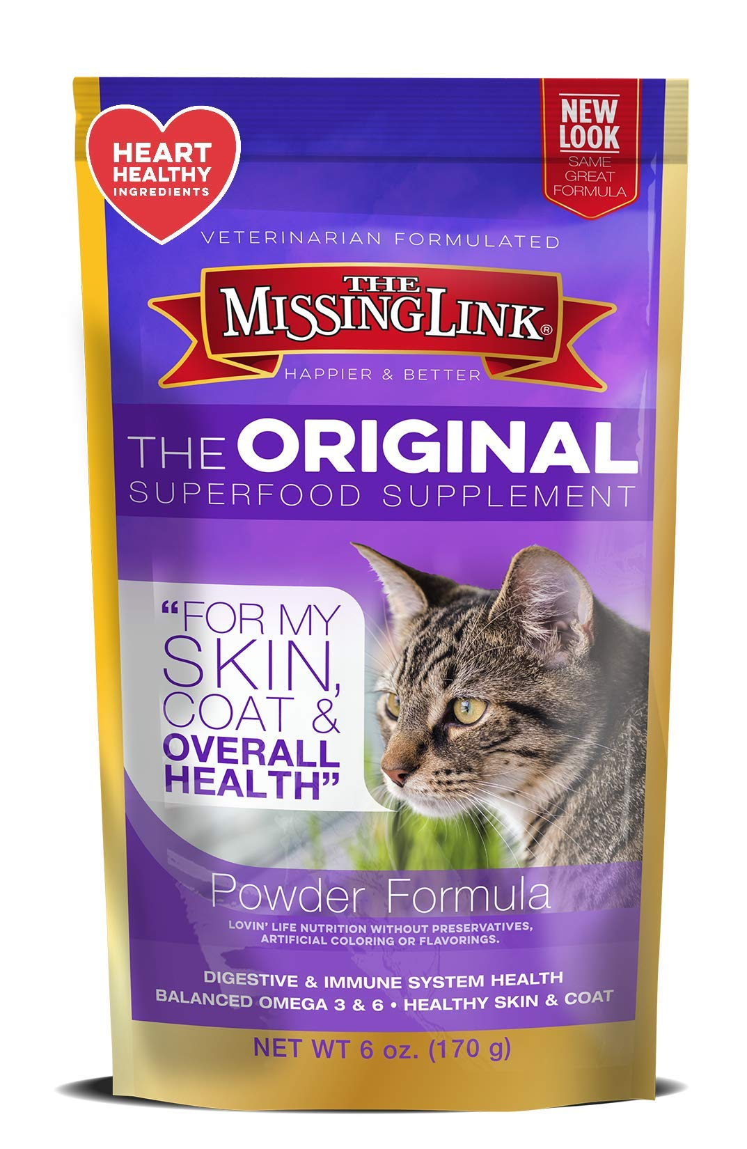 The Missing Link - Original All Natural Superfood Cat Supplement - Balanced Omega 3 & 6 to support Healthy Skin Coat, Immunity and Overall Health - Feline Formula - 6 oz. by The Missing Link