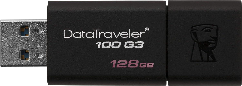 Kingston DataTraveler 100 G3 -DT100G3/128GB, USB 3.0, Flash Drive, 128 GB, Negro