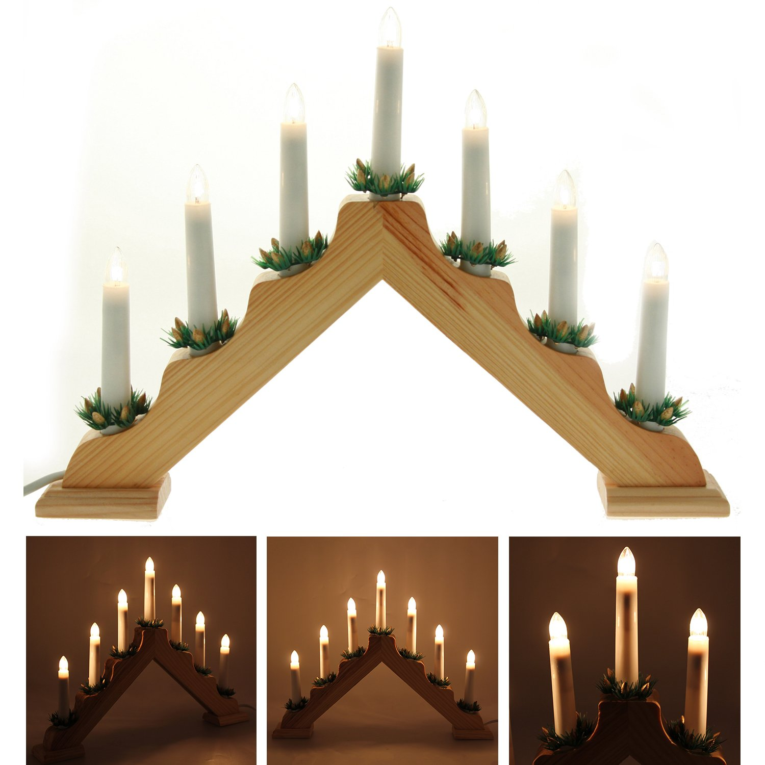 Pre Lit Wooden Triangle Candle Bridge Window Table Christmas
