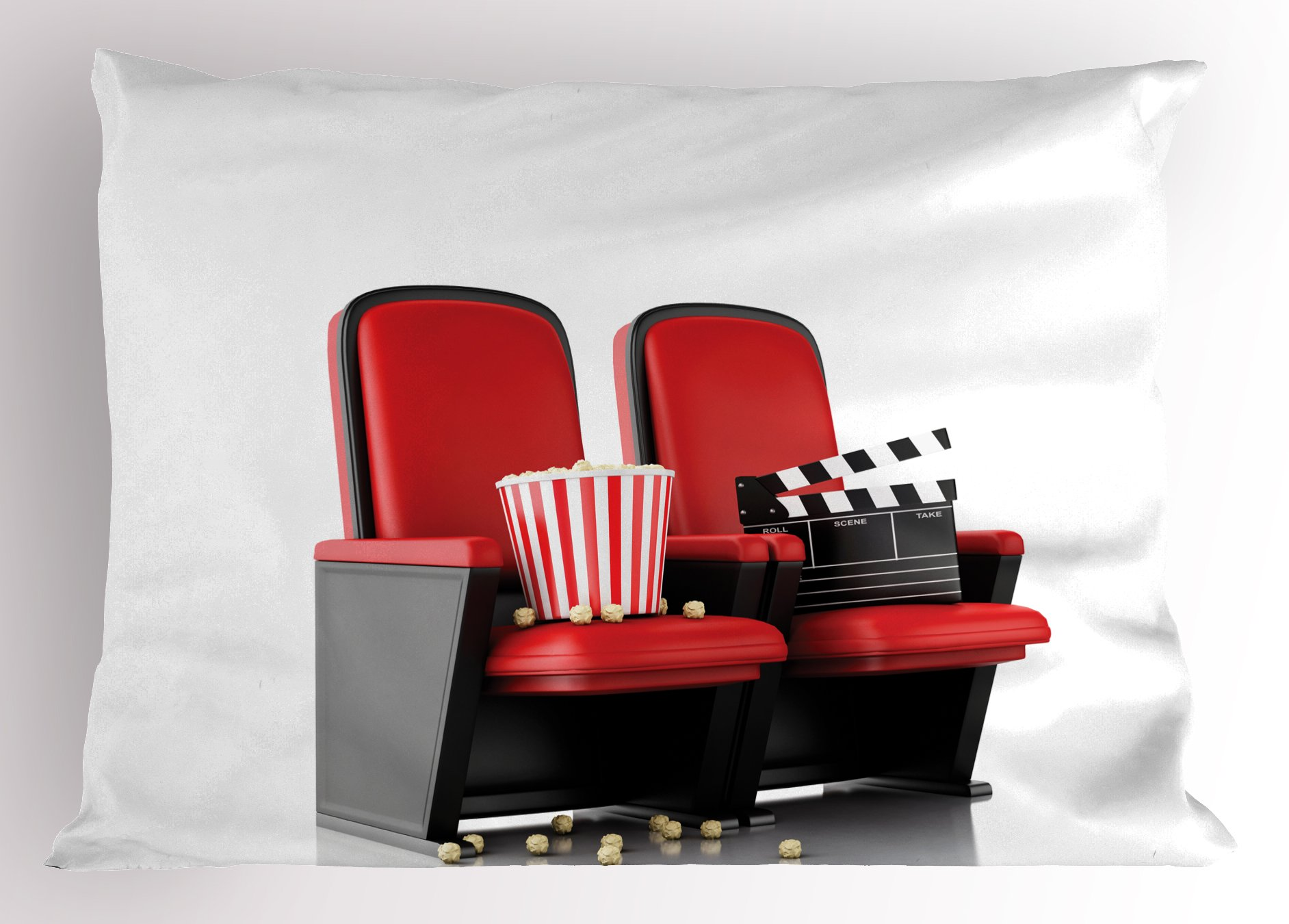 Ambesonne Movie Theater Pillow Sham, 3D Illustration Cinema Concept Clapper Board and Popcorn on Theater Seat, Decorative Standard Queen Size Printed Pillowcase, 30 X 20 inches, Red Black White
