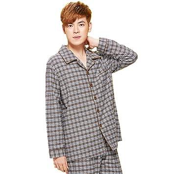 DMMSS Parejas pijamas de algod¨®n tejido largo - manga traje de pijama de