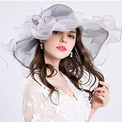 810d3b510c9e2f Aolvo Women's Organza Church Derby Hats Anti-UV Sinamay Fascinator Kentucky  Hats Vintage Bridal Tea