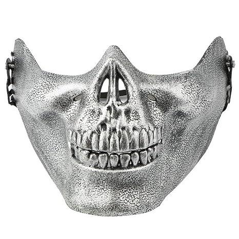 joyliveCY Máscara de Media Cara Máscara de Esqueleto de Calavera de Halloween, Máscara de Engranaje
