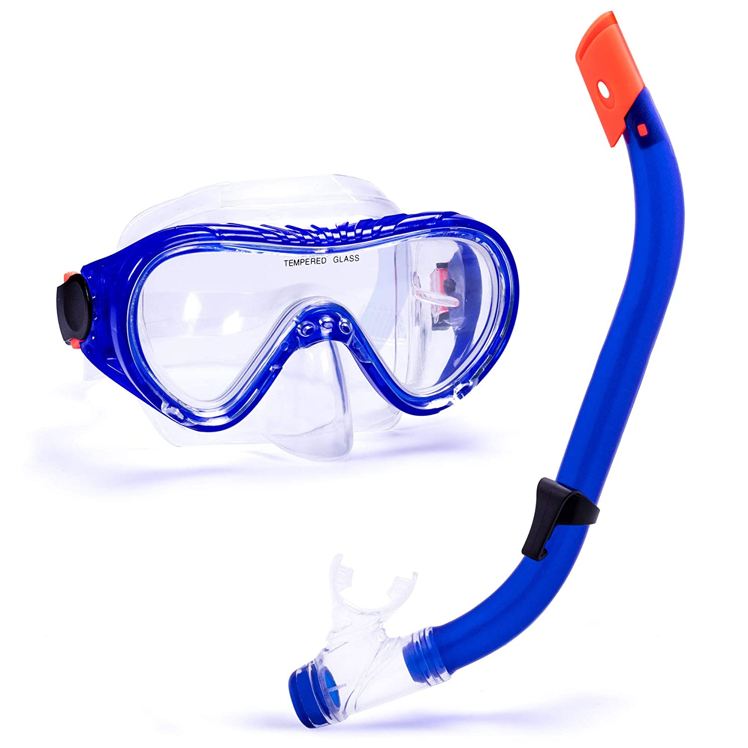 Beach Days Crown Sporting Goods Junior Semi-Dry Diving /& Snorkel Set or Aquatic Adventures PVC Skirting and Mouthpiece Child Safe Adjustable Face Mask Tempered Shatterproof Glass Vacations
