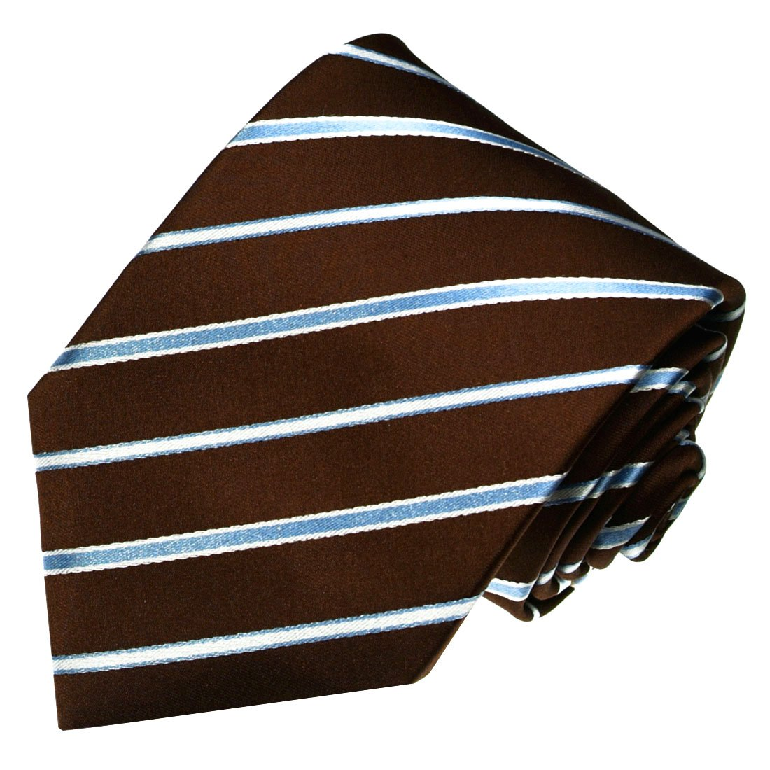 LORENZO CANA Luxury Italian 100/% Silk Woven Necktie Brown Lightblue Stripes 84340