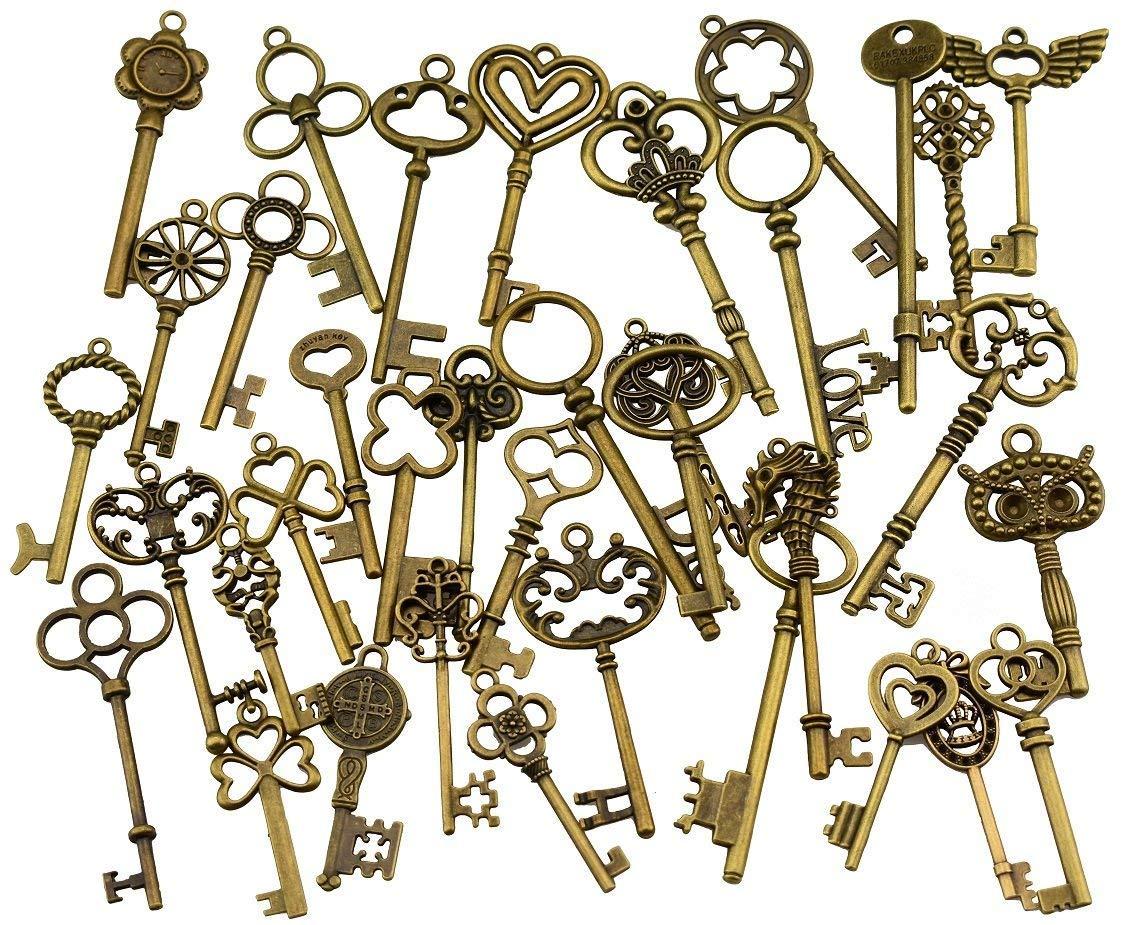 Tweal 46 St/ücke Vintage Deko Schl/üssel Bronze Schl/üssel Retro Anh/änger f/ür Hochzeit Dekoration Gefallen,Halskette Anh/änger,Basteln