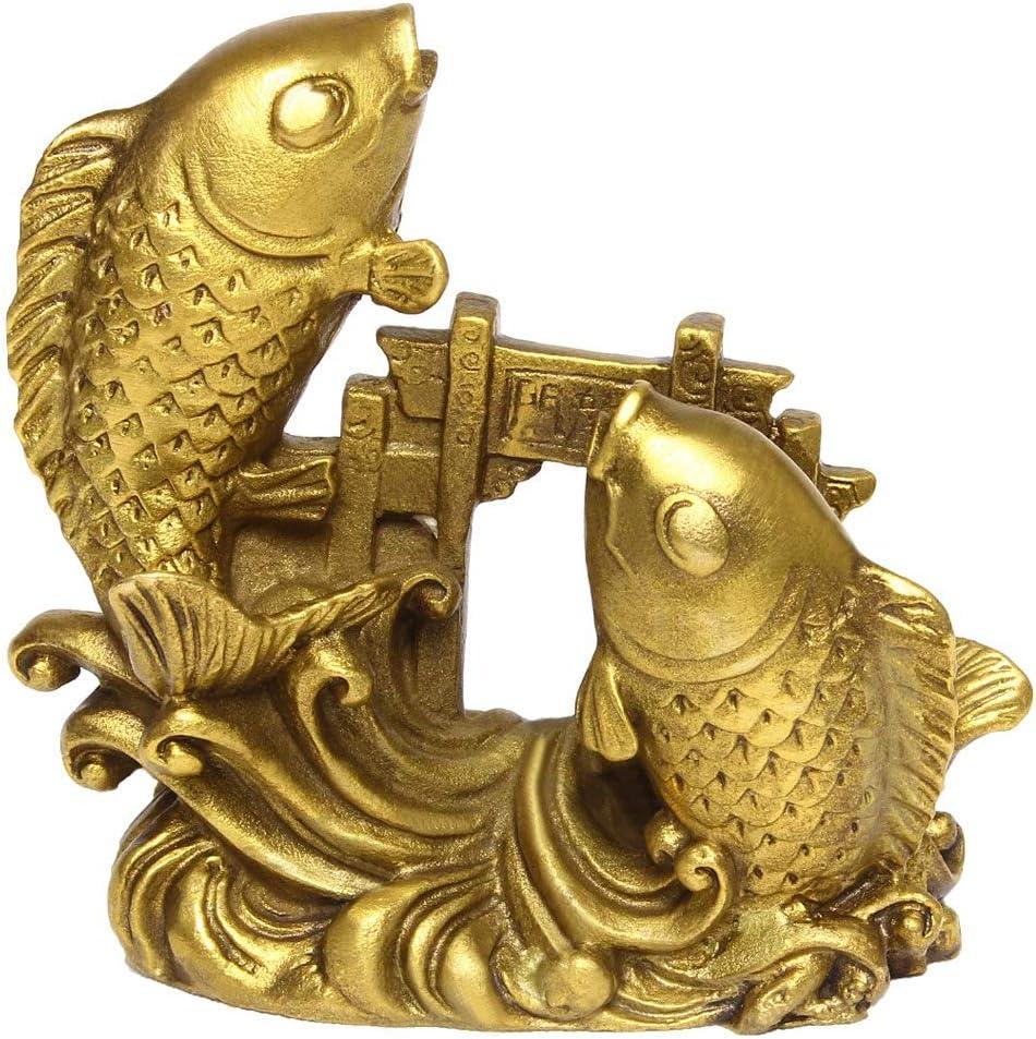 Chinese Handmade Brass Arowana Golden Fish Statue Home Decor Gift BS054